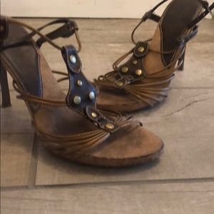 Copper and brown gladiator heels